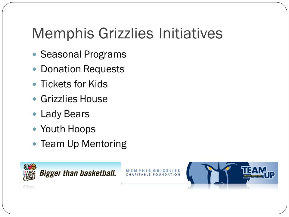 Memphis Grizzlies Initiatives Seasonal Programs Donation Requests Tickets for Kids Grizzlies House Lady Bears Youth Hoops Team Up Mentoring