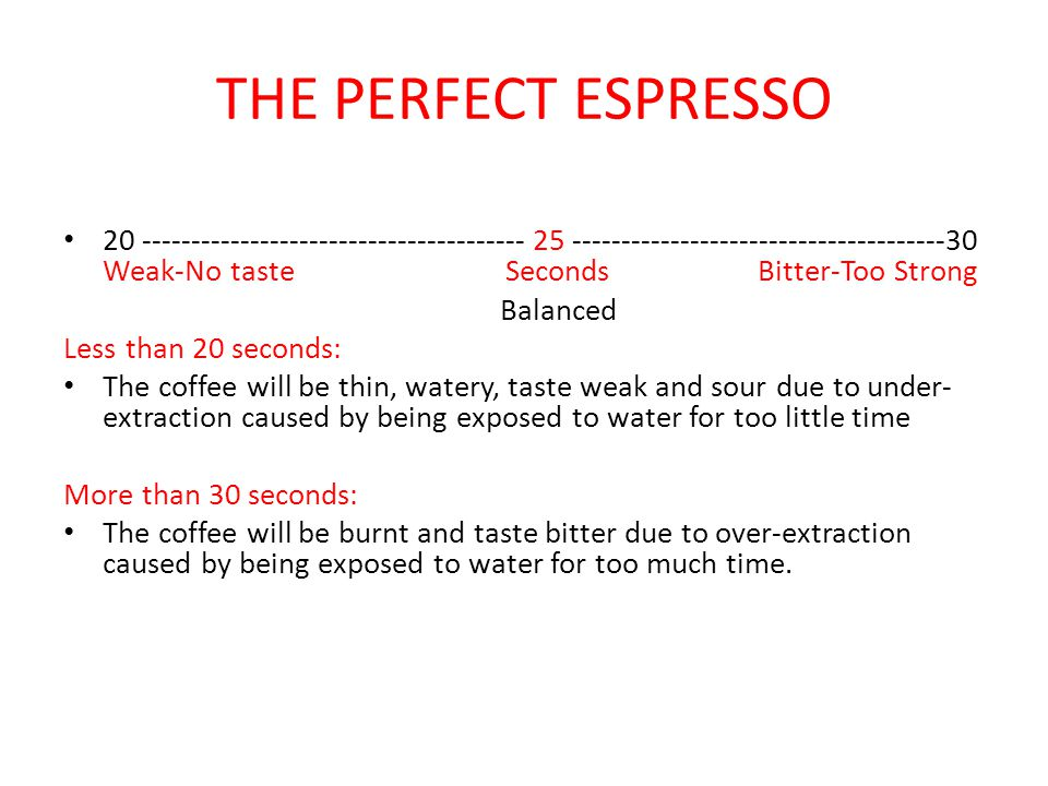 THE PERFECT ESPRESSO 20 --------------------------------------- 25 --------------------------------------30 Weak-No taste Seconds Bitter-Too Strong Ba