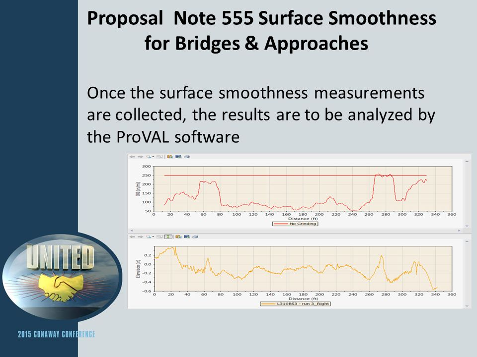Proposal Note 555 Surface Smoothness for Bridges & Approaches Diamond Grinding & Corrective Action Plans Can't grind through steel armor Ensure sufficient reinforcing cover Can't go too deep on adjacent surface course Ensure the Plan developed is what's executed in the field.