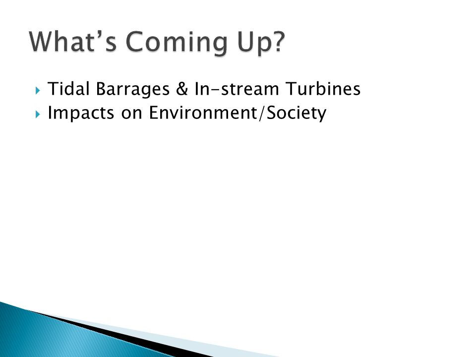  Tidal Barrages & In-stream Turbines  Impacts on Environment/Society