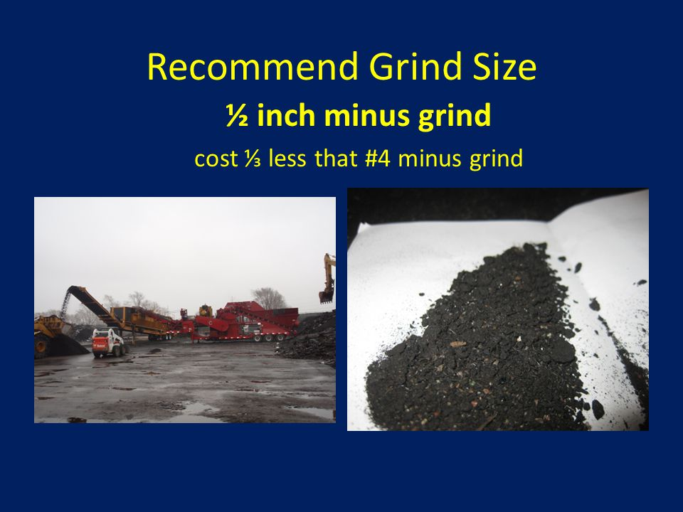 Recommend Grind Size ½ inch minus grind cost ⅓ less that #4 minus grind
