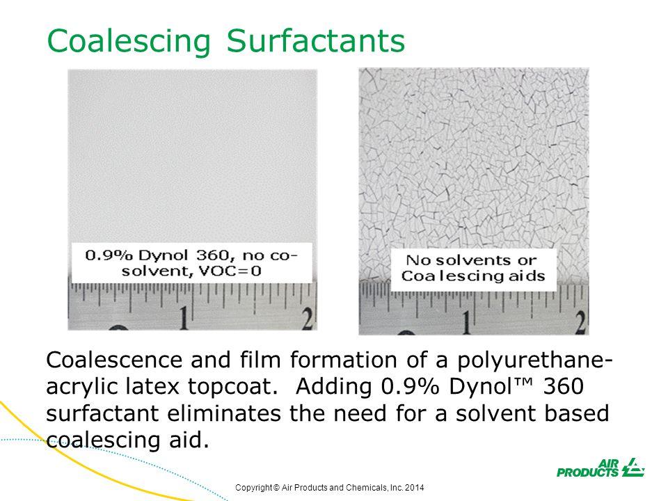 Coalescing Surfactants Coalescence and film formation of a polyurethane- acrylic latex topcoat. Adding 0.9% Dynol™ 360 surfactant eliminates the need