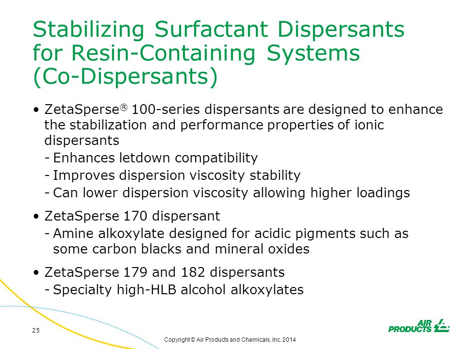 Stabilizing Surfactant Dispersants for Resin-Containing Systems (Co-Dispersants) ZetaSperse ® 100-series dispersants are designed to enhance the stabi