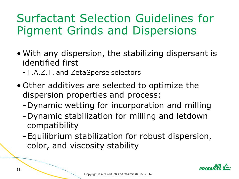 Surfactant Selection Guidelines for Pigment Grinds and Dispersions With any dispersion, the stabilizing dispersant is identified first -F.A.Z.T. and Z