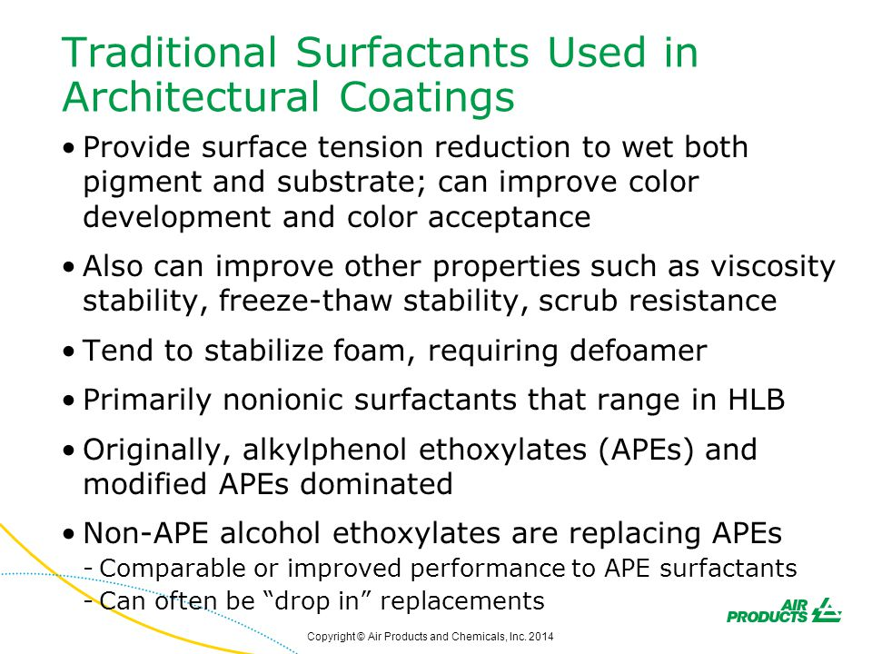 Traditional Surfactants Used in Architectural Coatings Provide surface tension reduction to wet both pigment and substrate; can improve color developm