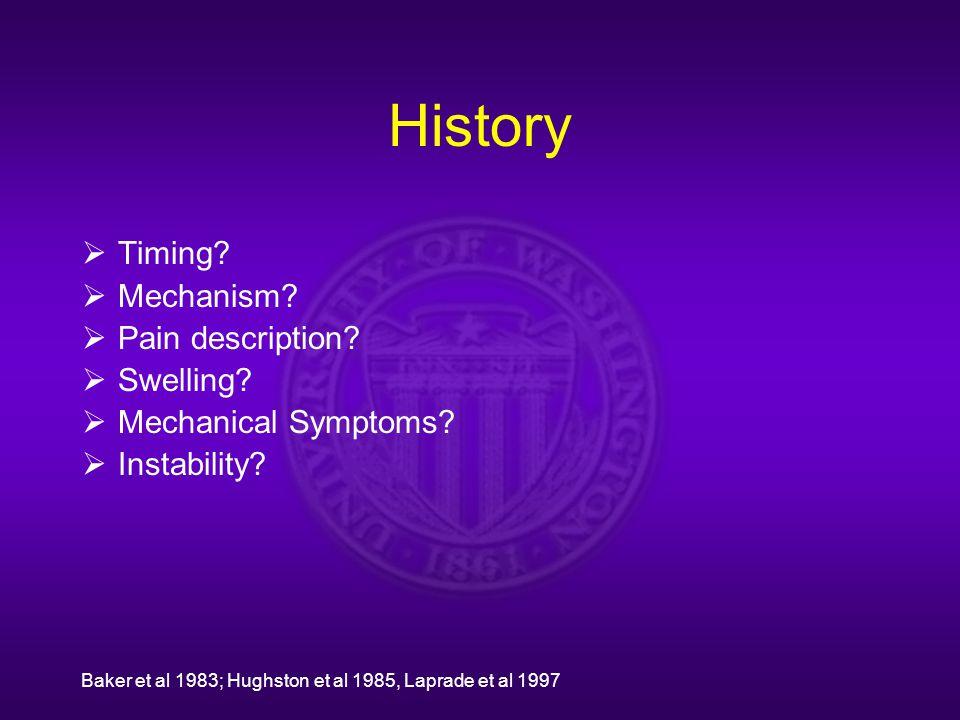History  Timing?  Mechanism?  Pain description?  Swelling?  Mechanical Symptoms?  Instability? Baker et al 1983; Hughston et al 1985, Laprade et