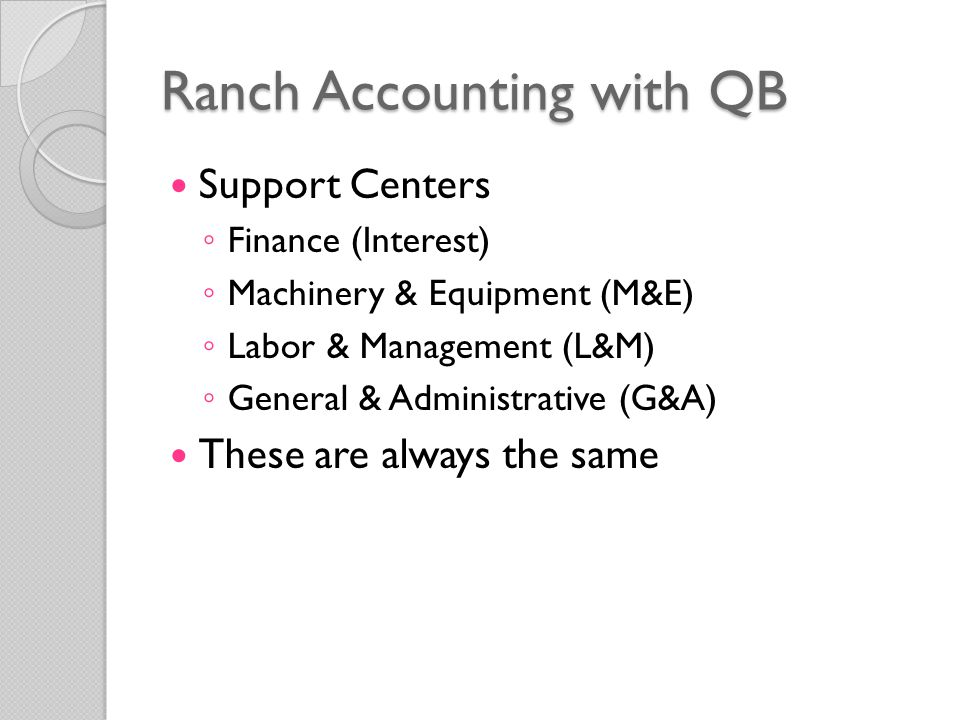 Support Centers ◦ Finance (Interest) ◦ Machinery & Equipment (M&E) ◦ Labor & Management (L&M) ◦ General & Administrative (G&A) These are always the same Ranch Accounting with QB