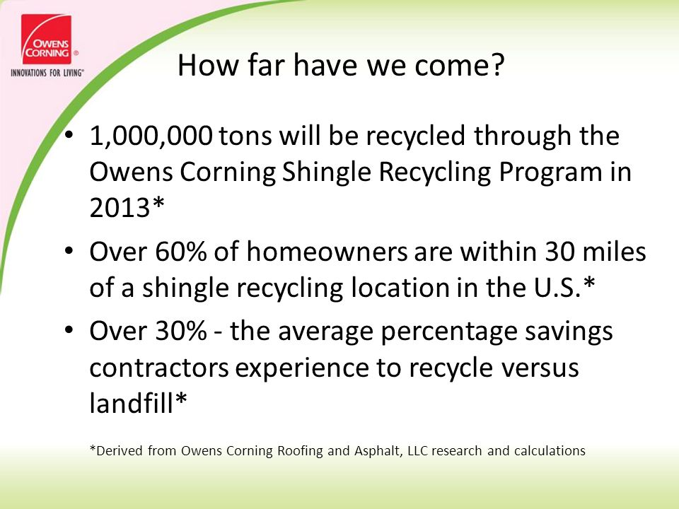 Stakeholders: Manufacturers Homeowners Roofing Contractors Recyclers End Use – Hot Mix Asphalt and others Each party is critical to success.