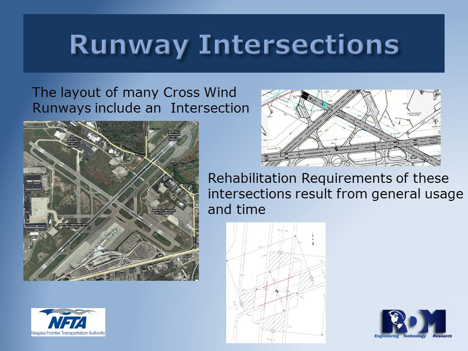 Rehabilitation Requirements of these intersections result from general usage and time The layout of many Cross Wind Runways include an Intersection