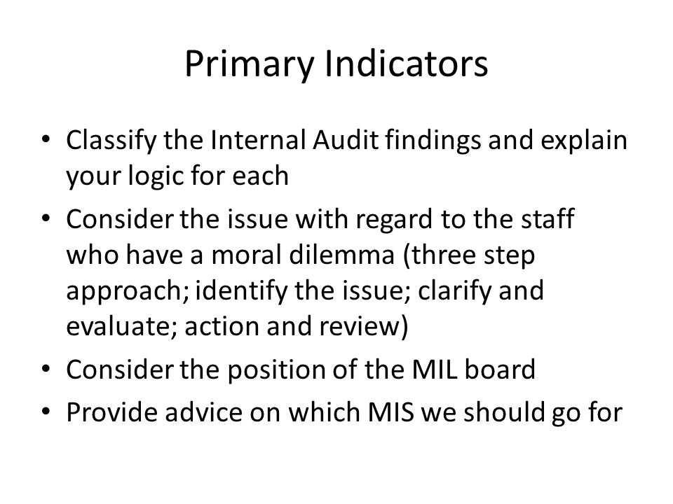 Primary Indicators Classify the Internal Audit findings and explain your logic for each Consider the issue with regard to the staff who have a moral d