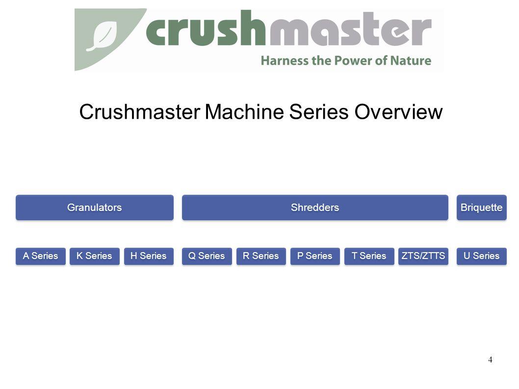 Granulators A SeriesK Series H Series Shredders Q SeriesR SeriesP SeriesT SeriesZTS/ZTTS Briquette U Series 4 Crushmaster Machine Series Overview