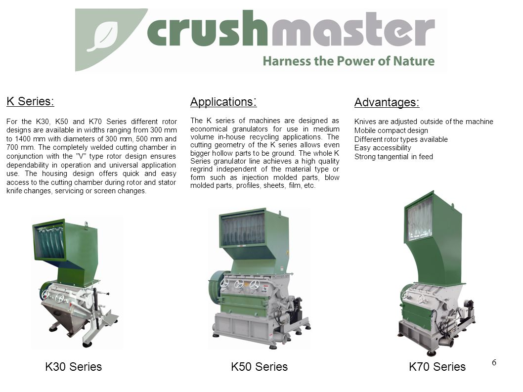 Applications : The K series of machines are designed as economical granulators for use in medium volume in-house recycling applications.