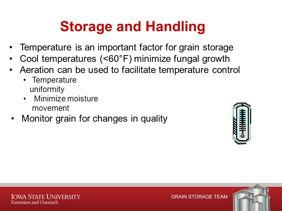 Temperature is an important factor for grain storage Cool temperatures (<60°F) minimize fungal growth Aeration can be used to facilitate temperature control Temperature uniformity Minimize moisture movement Monitor grain for changes in quality Storage and Handling