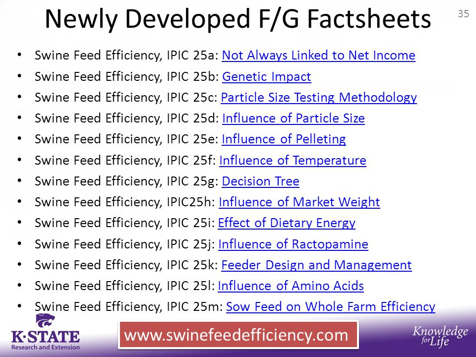Newly Developed F/G Factsheets Swine Feed Efficiency, IPIC 25a: Not Always Linked to Net IncomeNot Always Linked to Net Income Swine Feed Efficiency,
