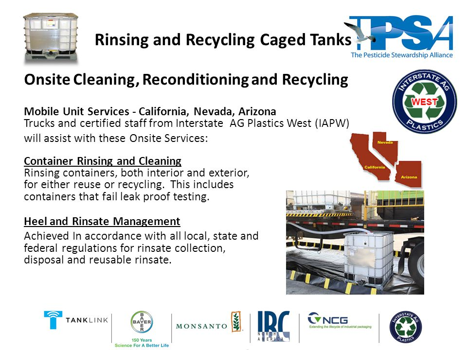 Recycling IAPW provides on-site removal of end-of-life Mini Bulk / IBC containers and caged tanks including cleaning and rinsing.