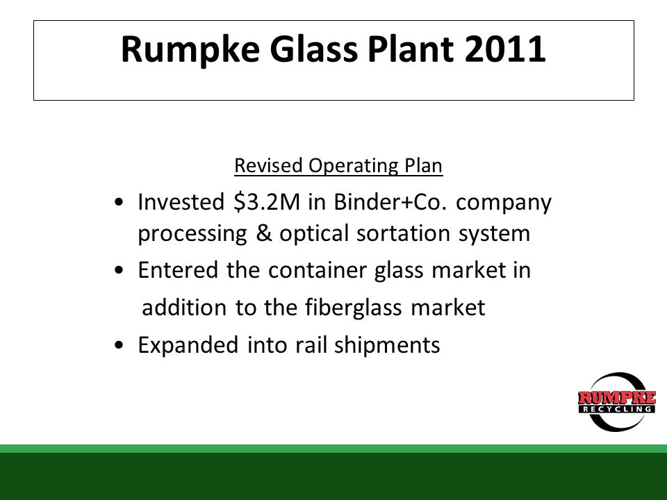 Rumpke Glass Plant 2011 Revised Operating Plan Invested $3.2M in Binder+Co. company processing & optical sortation system Entered the container glass