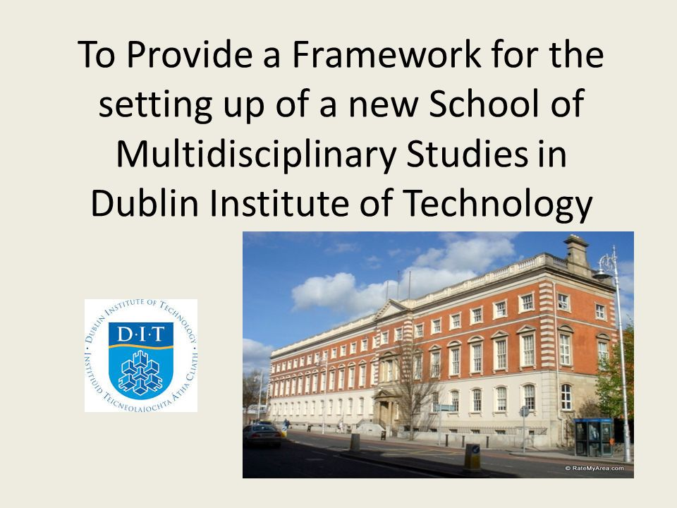 To Provide a Framework for the setting up of a new School of Multidisciplinary Studies in Dublin Institute of Technology