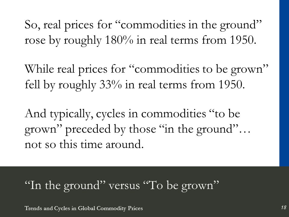 Trends and Cycles in Global Commodity Prices 18 In the ground versus To be grown So, real prices for commodities in the ground rose by roughly 180% in real terms from 1950.