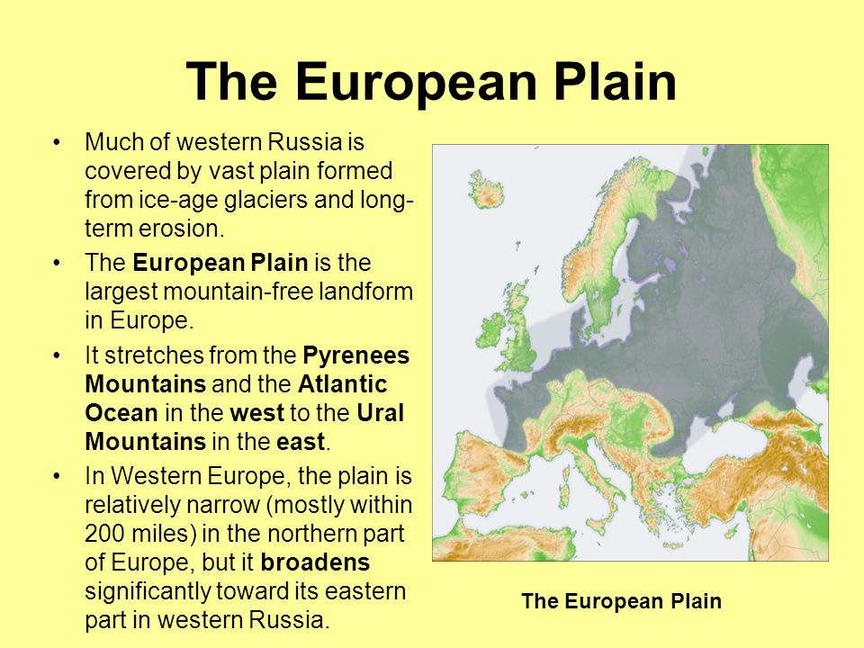 The Ural Mountains North to South length covers 2000 miles Areas west of the Urals— including Ukraine and Belarus—are part of Europe.