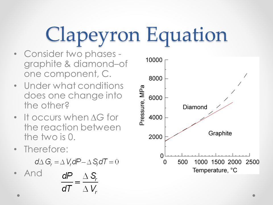 Clapeyron Equation Consider two phases - graphite & diamond–of one component, C.