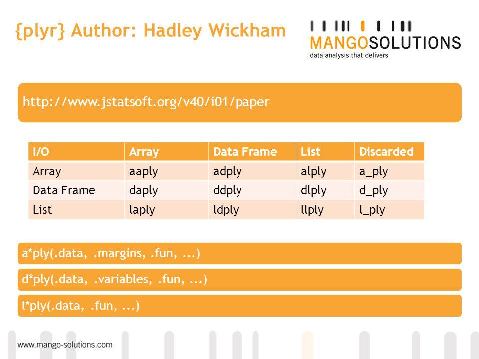 {plyr} Author: Hadley Wickham http://www.jstatsoft.org/v40/i01/paper I/OArrayData FrameListDiscarded Arrayaaplyadplyalplya_ply Data Framedaplyddplydlp