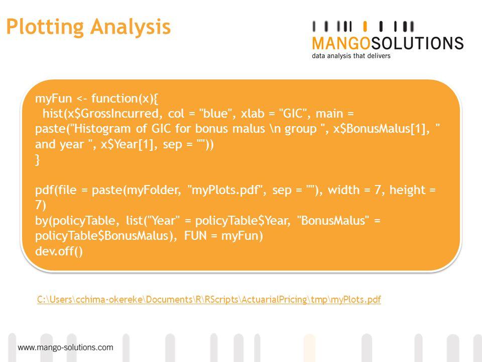 Plotting Analysis myFun <- function(x){ hist(x$GrossIncurred, col =