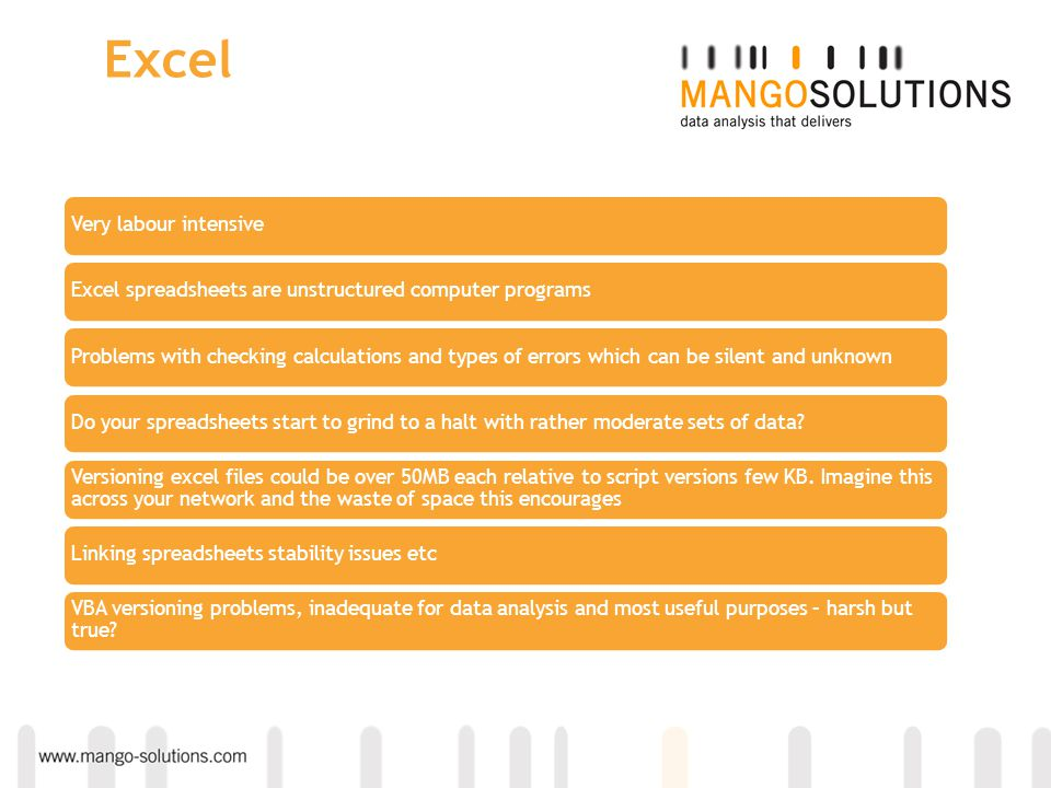 Excel Very labour intensiveExcel spreadsheets are unstructured computer programsProblems with checking calculations and types of errors which can be s