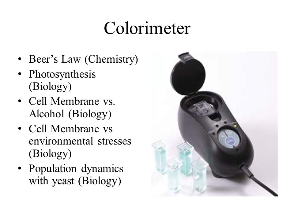 Colorimeter Beer's Law (Chemistry) Photosynthesis (Biology) Cell Membrane vs.