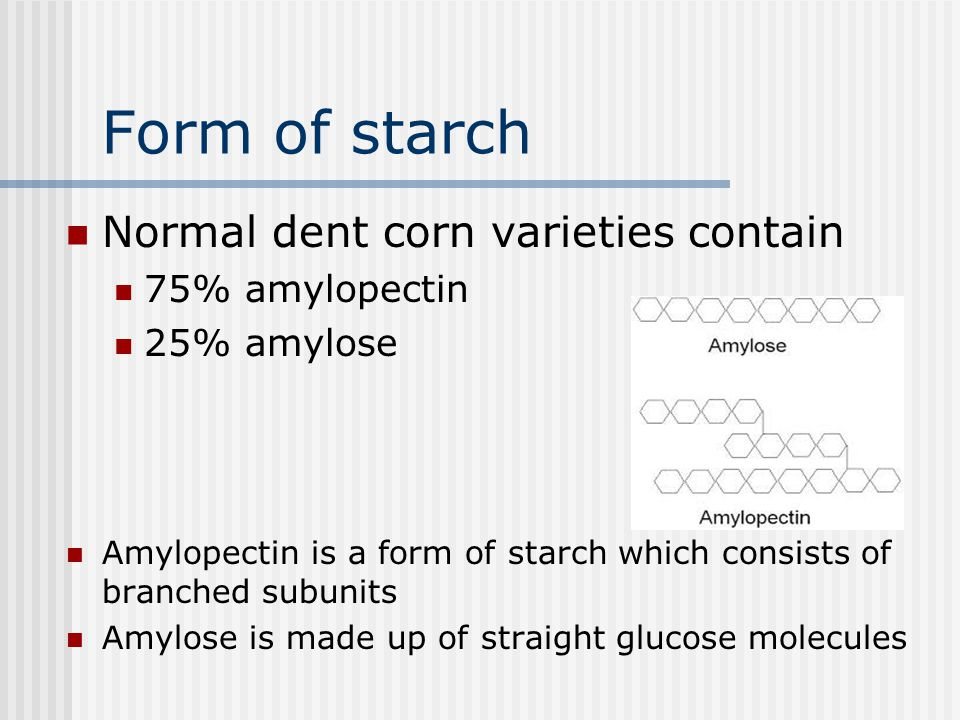 Corn: protein Zein protein 70% of protein in the corn seed in the endosperm Low digestible Poor amino acid profile Glutelin is type of protein mostly