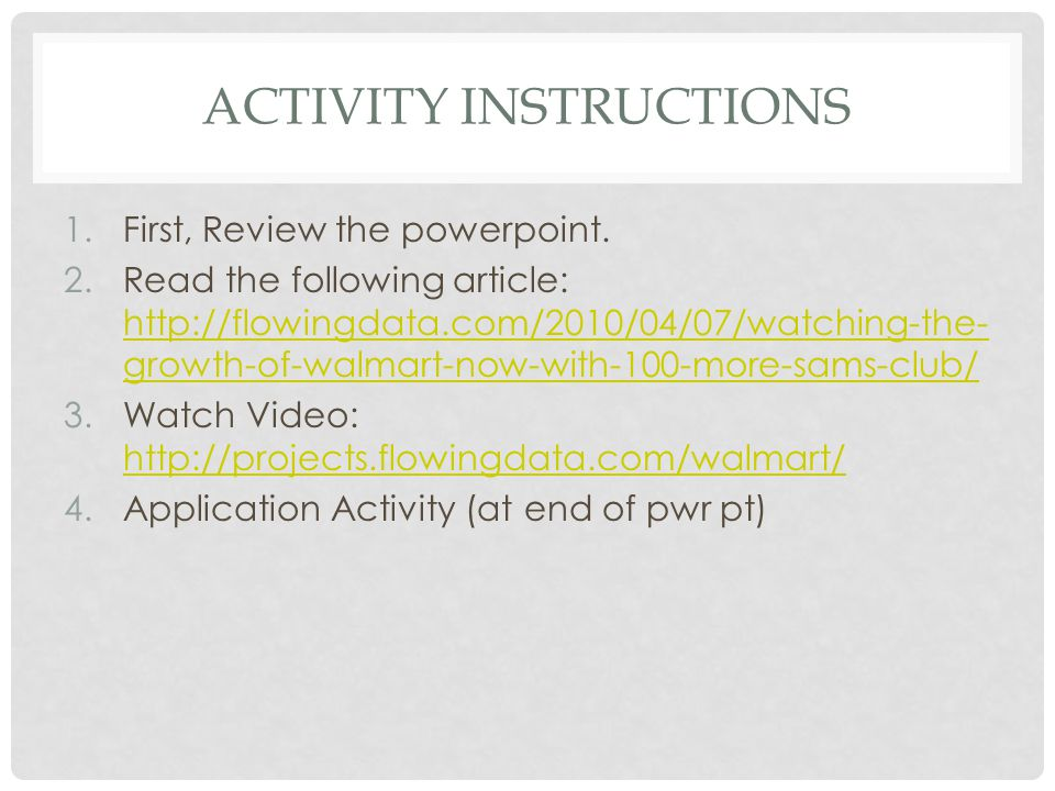 ACTIVITY INSTRUCTIONS 1.First, Review the powerpoint.