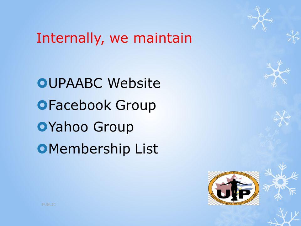 Internally, we maintain  UPAABC Website  Facebook Group  Yahoo Group  Membership List PUBLIC