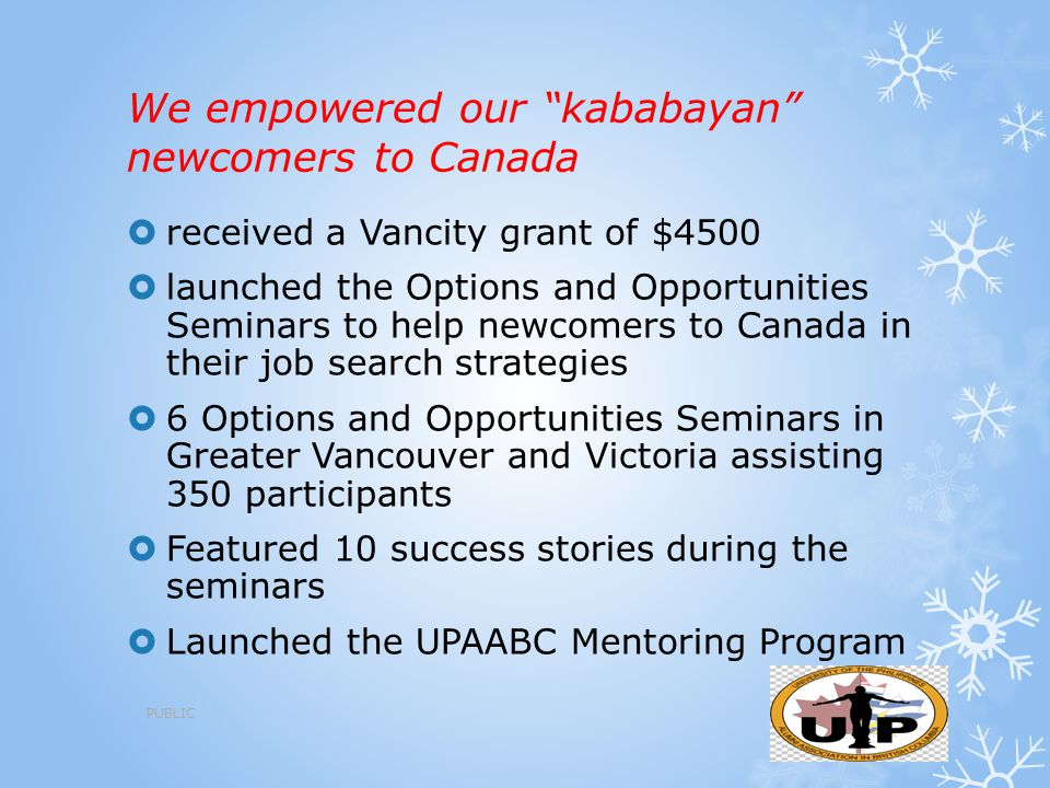 """We empowered our """"kababayan"""" newcomers to Canada  received a Vancity grant of $4500  launched the Options and Opportunities Seminars to help newcome"""