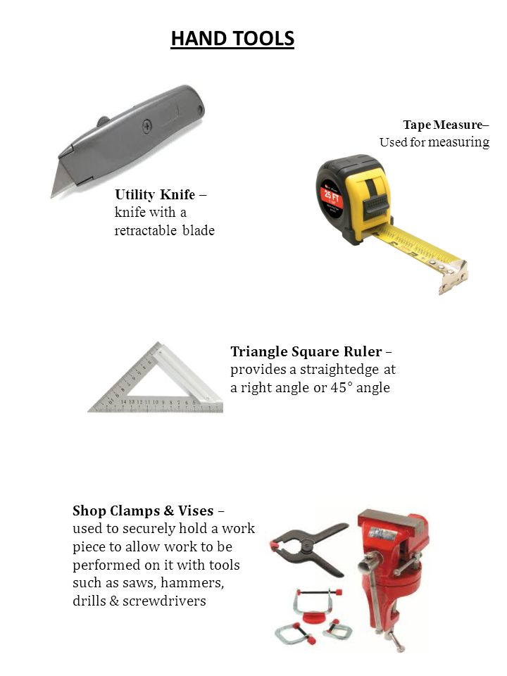 HAND SAWS Hand Saw - used to cut pieces of wood into different Coping Saw – type of hand saw used to cut intricate external shapes & interior cutouts Miter Saw & Miter Box - allows making accurate crosscuts and miter cuts