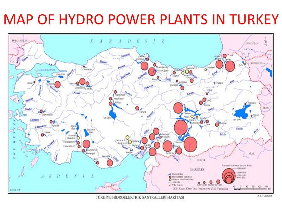 MAP OF HYDRO POWER PLANTS IN TURKEY