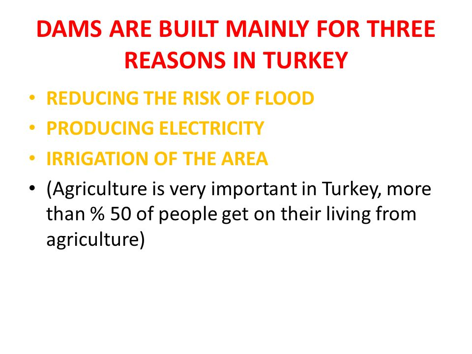 DAMS ARE BUILT MAINLY FOR THREE REASONS IN TURKEY REDUCING THE RISK OF FLOOD PRODUCING ELECTRICITY IRRIGATION OF THE AREA (Agriculture is very important in Turkey, more than % 50 of people get on their living from agriculture)