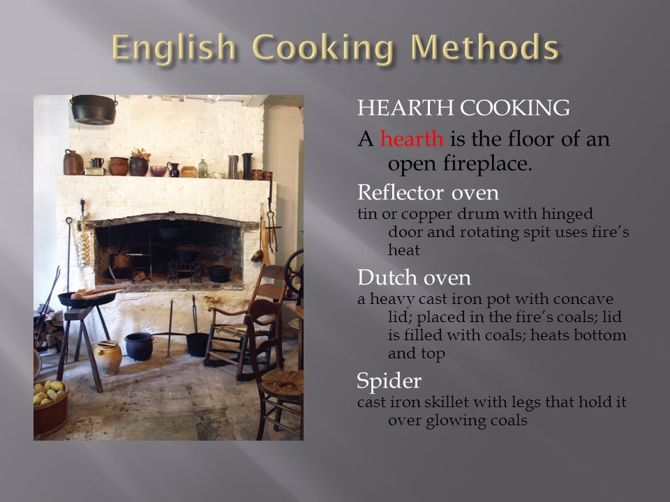 HEARTH COOKING A hearth is the floor of an open fireplace. Reflector oven tin or copper drum with hinged door and rotating spit uses fire's heat Dutch
