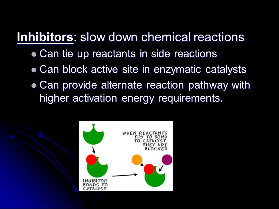 Inhibitors: slow down chemical reactions Can tie up reactants in side reactions Can tie up reactants in side reactions Can block active site in enzymatic catalysts Can block active site in enzymatic catalysts Can provide alternate reaction pathway with higher activation energy requirements.