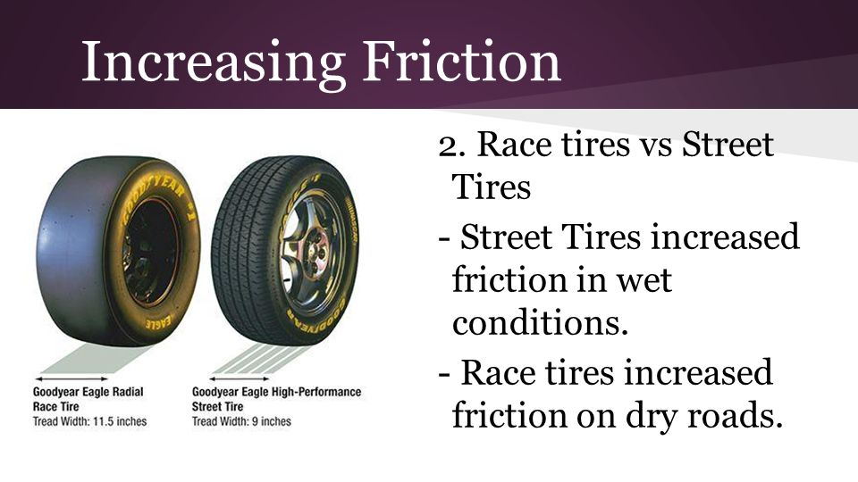 Increasing Friction 2. Race tires vs Street Tires - Street Tires increased friction in wet conditions. - Race tires increased friction on dry roads.