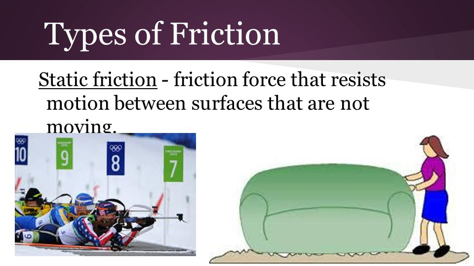 Types of Friction Static friction - friction force that resists motion between surfaces that are not moving.