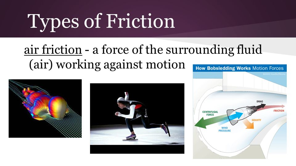 Types of Friction air friction - a force of the surrounding fluid (air) working against motion