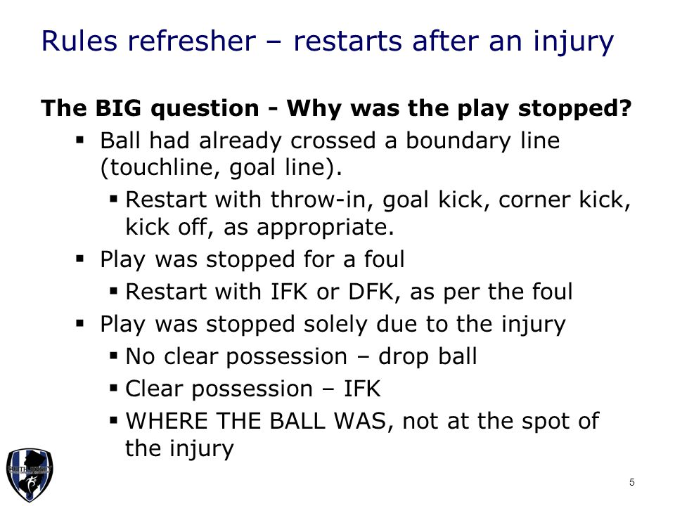 Rules refresher - Offside  A player in an offside position is not penalized when receiving the ball directly from a throw-in or corner kick.
