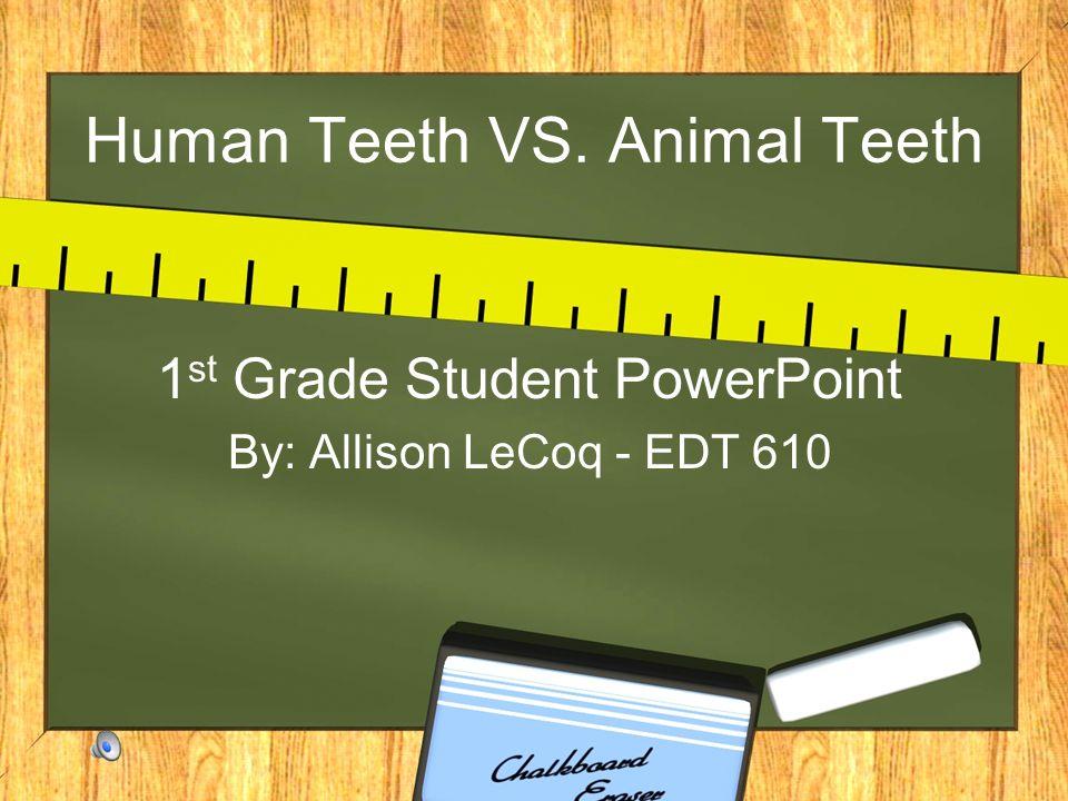 Human Teeth VS. Animal Teeth 1 st Grade Student PowerPoint By: Allison LeCoq - EDT 610