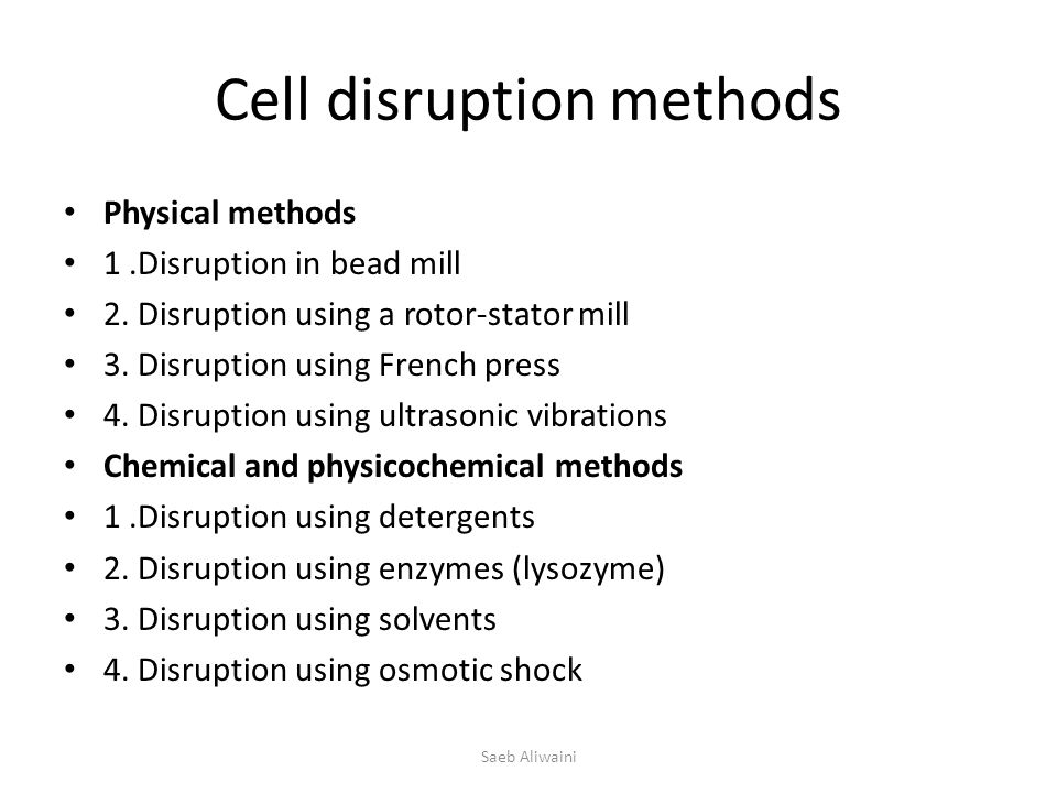 Cell disruption methods Physical methods 1.Disruption in bead mill 2.