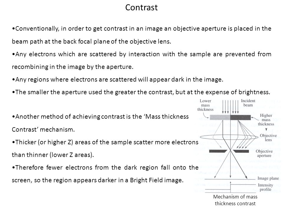 Contrast Conventionally, in order to get contrast in an image an objective aperture is placed in the beam path at the back focal plane of the objectiv