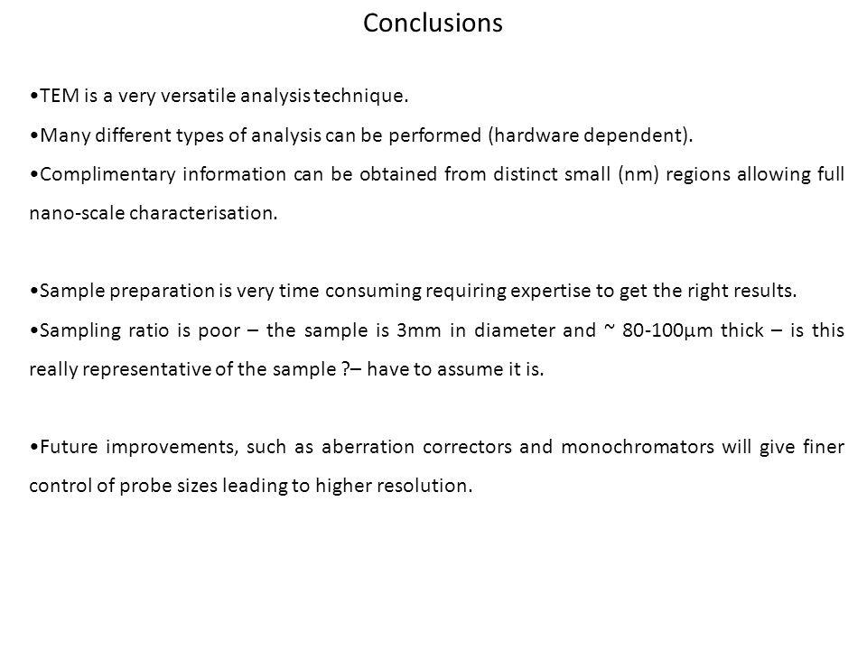 Conclusions TEM is a very versatile analysis technique.