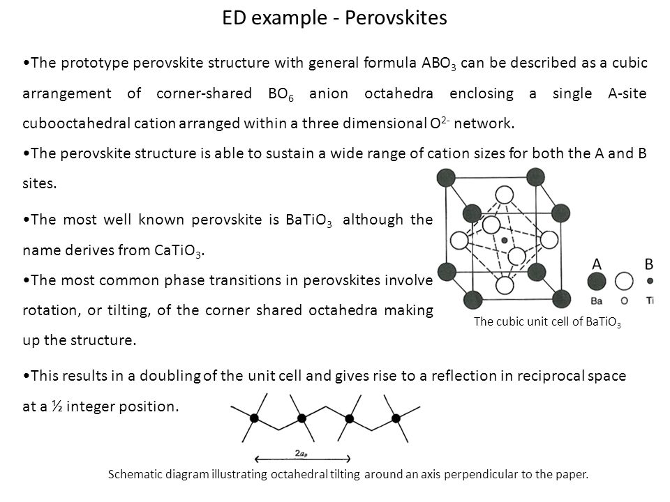 ED example - Perovskites The prototype perovskite structure with general formula ABO 3 can be described as a cubic arrangement of corner-shared BO 6 anion octahedra enclosing a single A-site cubooctahedral cation arranged within a three dimensional O 2- network.