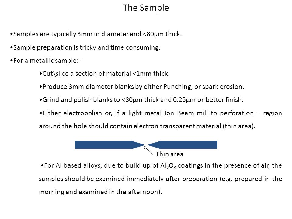 The Sample Samples are typically 3mm in diameter and <80µm thick.