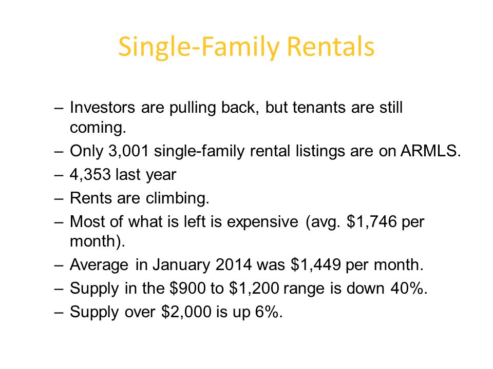 Single-Family Rentals –Investors are pulling back, but tenants are still coming. –Only 3,001 single-family rental listings are on ARMLS. –4,353 last y
