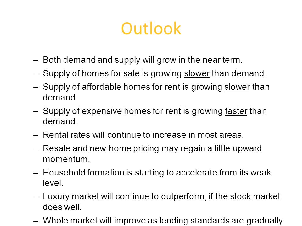 Outlook –Both demand and supply will grow in the near term.
