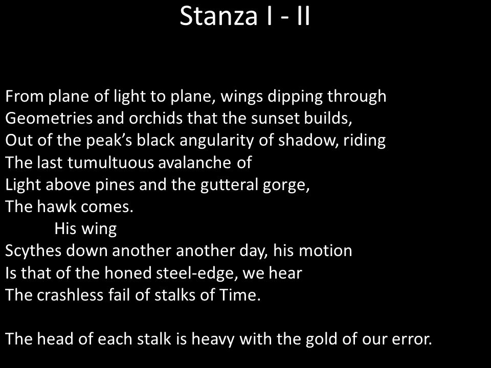 Stanza I - II From plane of light to plane, wings dipping through Geometries and orchids that the sunset builds, Out of the peak's black angularity of shadow, riding The last tumultuous avalanche of Light above pines and the gutteral gorge, The hawk comes.